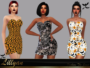Sims 4 — Dress Catryna halloween by LYLLYAN — Dress in 5 prints. Base game.