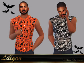 Sims 4 — T-shirt Derik by LYLLYAN — T-shirt in 5 prints. Base game.
