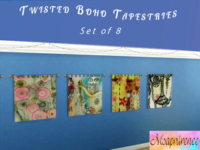 Sims 4 — Twisted Boho Tapestries. Movie Hangout Required by msaprilrenee — Interesting shapes and colors make these