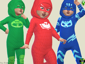 Sims 4 — Toddler Constume Onesie Set by Pelineldis — This set includes my PJ Mask Heroes costumes in two versions: with