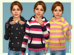 Sims 4 — Hoodie for Girls P11 by lillka — Hoodie for Girls 3 swatches Base game compatible Custom thumbnail Hair by