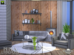 Sims 4 — Pepka livingroom by jomsims — Pepka livingroom New living room for your Sims 4. sofa , deco blanket for sofa,