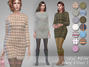 Sims 4 — Dress Ellinor 1 - NEW MESH by Jaru_Sims — New Mesh HQ mod compatible All LODs 14 swatches Teen to elder Custom
