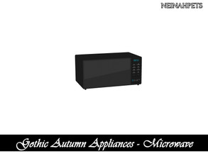 Sims 4 — Gothic Autumn Appliances - Microwave {Mesh Required} by neinahpets — A modern black microwave.