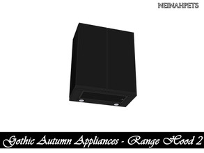 Sims 4 — Gothic Autumn Appliances - Range Hood II {Mesh Required} by neinahpets — A range hood with a cabinet set on top.