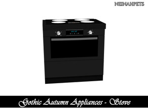Sims 4 — Gothic Autumn Appliances - Stove {Mesh Required} by neinahpets — A black modern sleek stove.