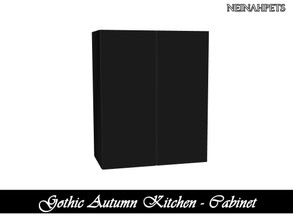 Sims 4 — Gothic Autumn Kitchen - Cabinet {Mesh Required} by neinahpets — A black wooden cabinet.