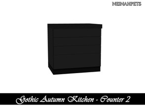 Sims 4 — Gothic Autumn Kitchen - Counter II {Mesh Required} by neinahpets — A black wooden counter v2.
