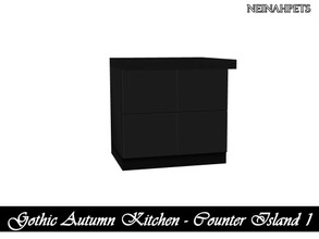 Sims 4 — Gothic Autumn Kitchen - Counter Island I {Mesh Required} by neinahpets — A black counter island.