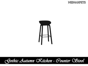 Sims 4 — Gothic Autumn Kitchen - Counter Stool {Mesh Required} by neinahpets — A black wooden bar stool.