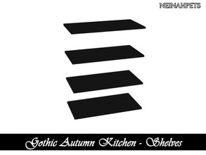 Sims 4 — Gothic Autumn Kitchen - Shelves {Mesh Required} by neinahpets — A set of black shelves.