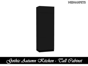 Sims 4 — Gothic Autumn Kitchen - Tall Cabinet {Mesh Required} by neinahpets — A tall cabinet system in black.