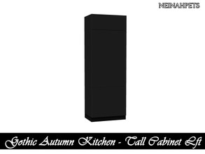 Sims 4 — Gothic Autumn Kitchen - Tall Cabinet Left {Mesh Required} by neinahpets — A left shelf tall cabinet in black.
