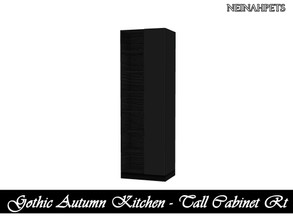 Sims 4 — Gothic Autumn Kitchen - Tall Cabinet Right {Mesh Required} by neinahpets — A tall black cabinet with right
