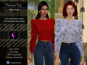 Sims 4 — Metone Top  by KaTPurpura — Wide neck blouse and long sleeves loose to the body, for those colder and windier