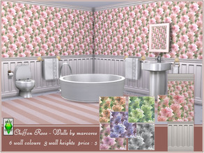 Sims 4 — Chiffon Rose - Walls by marcorse by marcorse — Pastel tinted chiffon roses in a diagonal repeat design are the