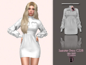 Sims 4 — Sweater Dress C228 by turksimmer — 10 Swatches Compatible with HQ mod Works with all of skins Custom Thumbnail