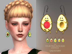 Sims 4 — Your Tiny Avocado by DailyStorm — Earrings with the avocado couple. Available in 5 different colors - new mesh -