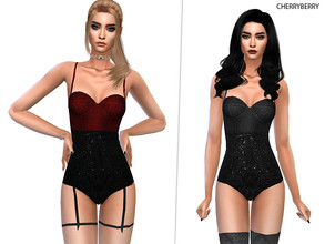 Sims 4 — Underworld Lingerie by CherryBerrySim — Underworld Lingerie - goth style underwear with lace details and garters