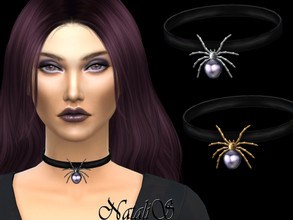 Sims 4 — NataliS_Pearl spider choker by Natalis — Haloween pearl spider choker. FT-FA-FE 3 colors.