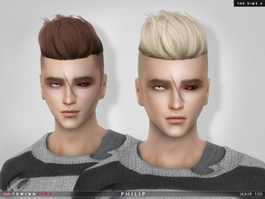 Sims 4 — Philip ( Hair 130 ) by TsminhSims — Contains 2 type: with and without hairbase New meshes - 20 colors - HQ