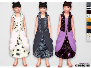 Sims 4 — Junior Spider Dress by Pinkfizzzzz — Beautiful Halloween spidery dress for your Halloween obsessed mini sims!!