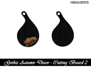 Sims 4 — Gothic Autumn Decor - Cutting Board II {Mesh Required} by neinahpets — A black round cutting board with a gothic