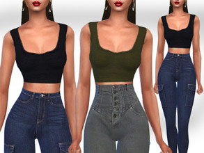 Sims 4 — HM Basic Autumn Crop Tops by saliwa — HM Basic Autumn Crop Tops 5 Colours, full design by Saliwa