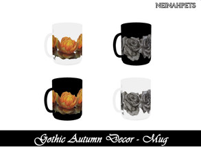 Sims 4 — Gothic Autumn Decor - Mug {Mesh Required} by neinahpets — A set of autumn gothic floral mugs. 4 Colors