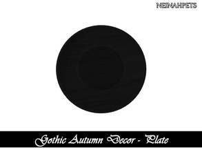 Sims 4 — Gothic Autumn Decor - Plate I {Mesh Required} by neinahpets — A black wooden plate.