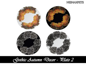 Sims 4 — Gothic Autumn Decor - Plate II {Mesh Required} by neinahpets — A set of gothic autumn plates. 4 Colors