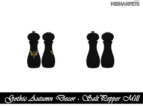 Sims 4 — Gothic Autumn Decor - Salt and Pepper Mill {Mesh Required} by neinahpets — A black wooden salt and pepper mill.