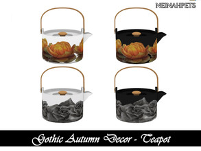 Sims 4 — Gothic Autumn Decor - Teapot {Mesh Required} by neinahpets — An autumn themed teapot. 4 Colors