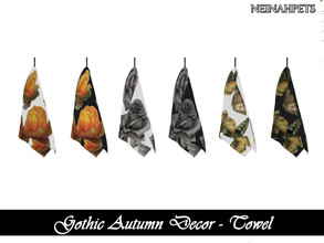 Sims 4 — Gothic Autumn Decor - Towel {Mesh Required} by neinahpets — A set of gothic autumn hand towels for the kitchen.
