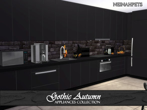 Sims 4 — Gothic Autumn Appliances {Mesh Required} by neinahpets — A set of modern black appliances. Set includes: Fridge