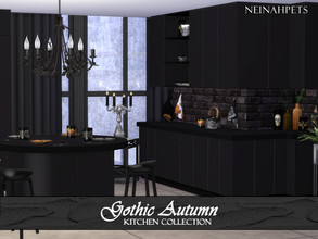 Sims 4 — Gothic Autumn Kitchen {Mesh Required} by neinahpets — A black wooden kitchen. Set includes: Counter I Counter II