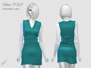 Sims 4 — DRESS N 227 by pizazz — NEW MESH included with download Base game 20 colors / swatches HQ - LODS - MAPS Hair