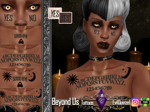Sims 4 — Beyond Us Tattoos by EvilQuinzel — - Tattoos category; - Female and male; - Teen + ; - All species; - 9
