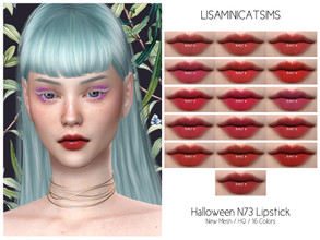 Sims 4 — LMCS Halloween N73 Lipstick (HQ) by Lisaminicatsims — -New Mesh -HQ Compatible -16 Swatches -All Skin