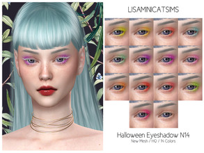 Sims 4 — LMCS Halloween Eyeshadow N14 (HQ) by Lisaminicatsims — -New Mesh -14 swatches -All Skin