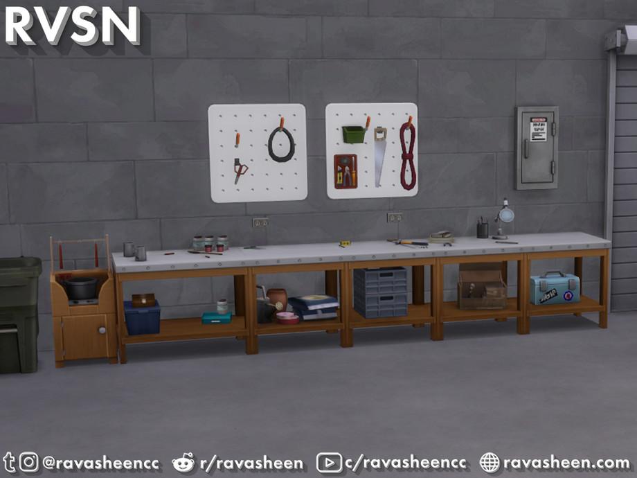 Sims 4 - Juego de garaje Tool Time de RAVASHEEN - Crea un área de trabajo perfecta con el juego Tool Time Garage.  Emparejar todos esos