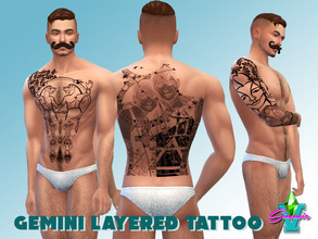 Sims 4 — SimmieV Gemini Layered Tattoo by SimmieV — A set of Gemini themed tattoo designs in seven separate layers and