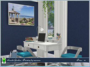 Sims 4 — Seaside Garden - Painting by marcorse by marcorse — Ocean frontage gardens, complete with picket fence and small