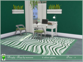 Sims 4 — Wriggly - Rugs by marcorse by marcorse — 4 x 3 occasional rugs with a wriggly stripe pattern and bound edges. 6