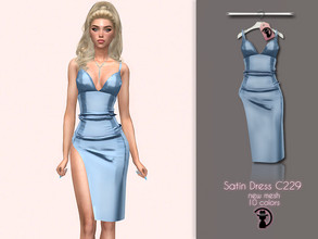 Sims 4 — Satin Dress C229 by turksimmer — 10 Swatches Compatible with HQ mod Works with all of skins Custom Thumbnail New