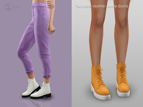 Sims 4 — Jius-Textured-leather ankle boots by Jius — -Textured-leather ankle boots -10 colors -Everyday/Party -Custom