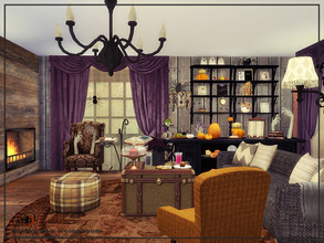Sims 4 — Halloween livingroom by Danuta720 — $25600 size: 8x9 The room was created on the short wall.
