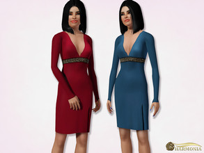 Sims 3 — Long Sleeve Midi Pencil Dress by Harmonia — 5 color. recolorable Please do not use my textures. Please do not