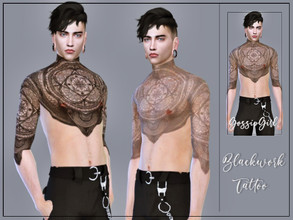 Sims 4 — Blackwork Tattoo Male by GossipGirl-S4 — - works with all skins and overlays - Light and dark swatches - teen to