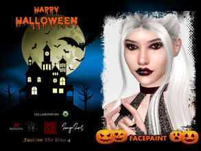 Sims 4 — Halloween Vampire Face Paint - Collaboration BR by remaron — Vampire makeup -10 Swatches -Custom CAS thumbnail